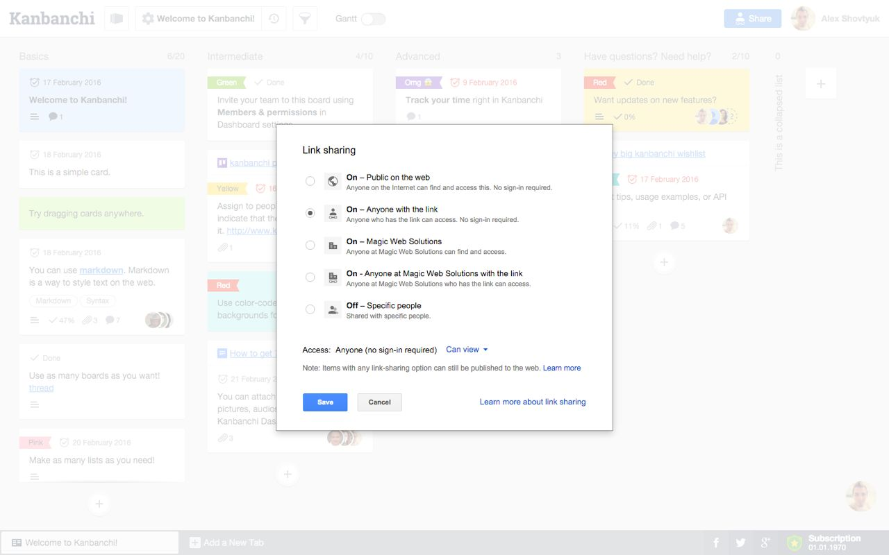 Скриншот Kanbanchi for G Suite