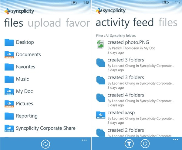 Syncplicity для Windows Phone