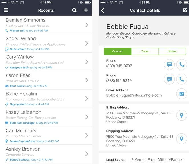 Infusionsoft CRM для iOS