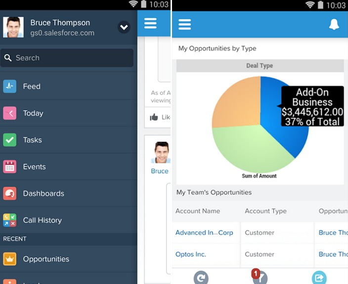 Salesforce CRM для Android