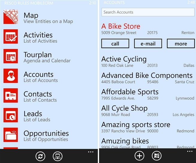 Resco Mobile CRM для Windows Phone