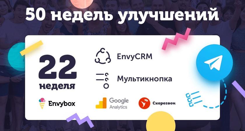 22 неделя улучшений Envybox: интеграции с Google Analytics, Скорозвон, почтой и Telegram