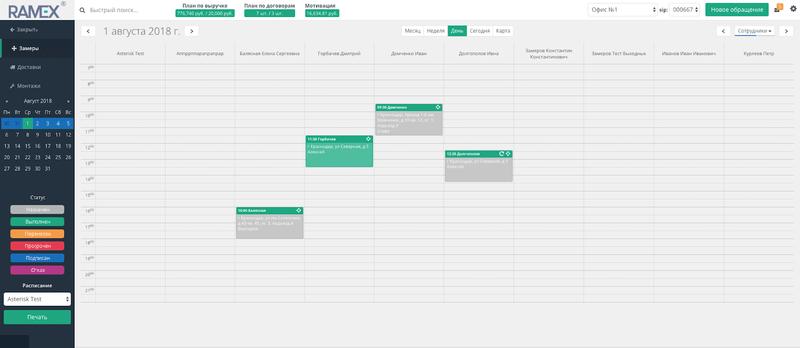 Ramex CRM обо всех фишках календарей: планирование и контроль выездных сотрудников