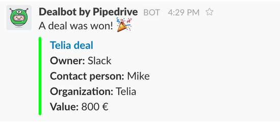 Pipedrive и Slack